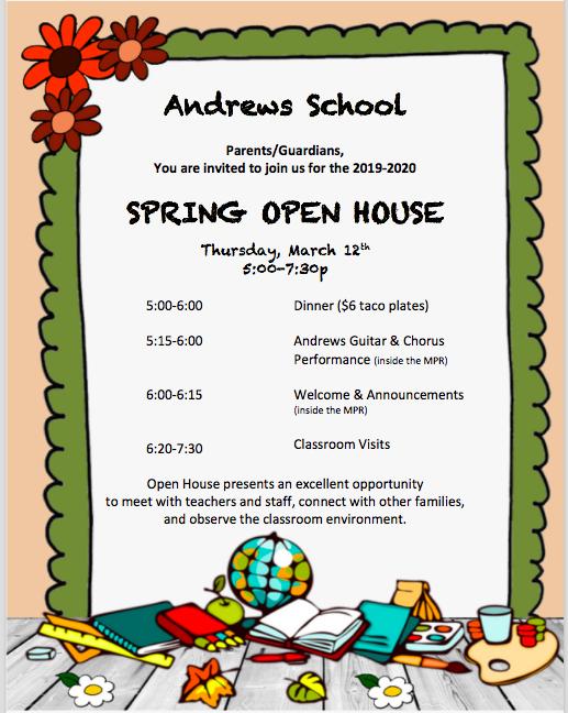 Spring Open House flyer 3/12/20