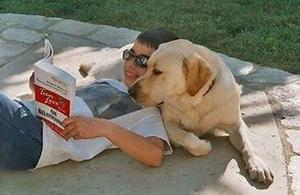 Dog Boy Reading