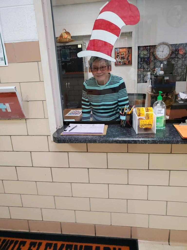 "Mrs. Blevins appears to be wearing ""Cat in the Hat"" hat"