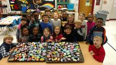 WPS 1st Graders Paint Rocks to support The Center for New Beginnings!