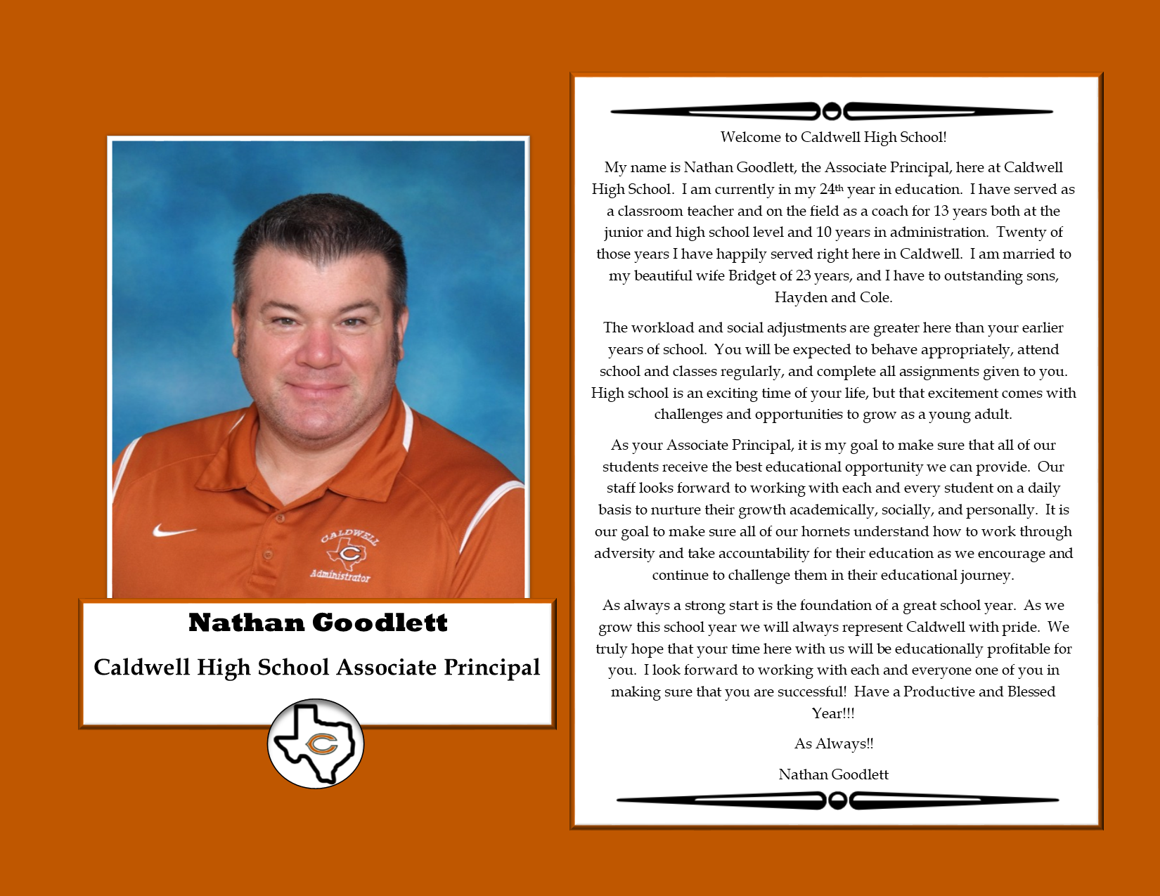 Mr. Goodlett's Message