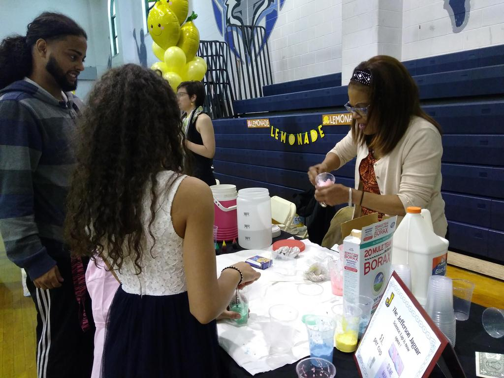 making slime at the Jefferson table