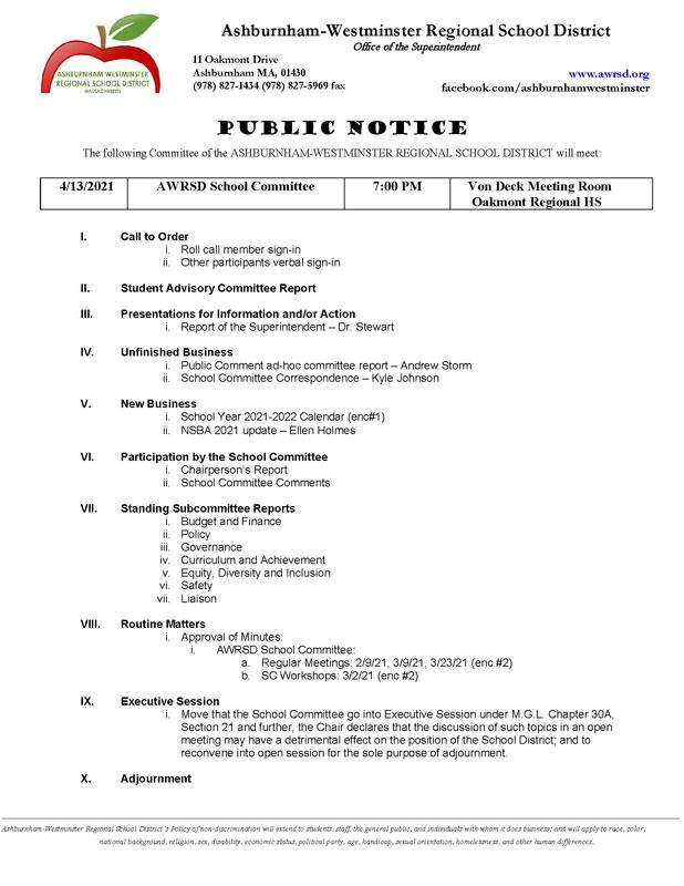 School Committee Meeting 4/13/2021 Featured Photo