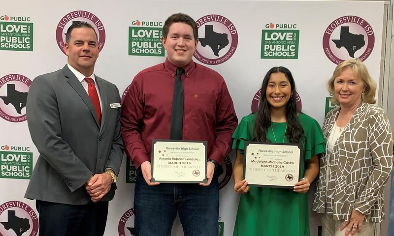 Students of the Month: Maddy Castro and Antonio Gonzalez photographed with Principal and Board President
