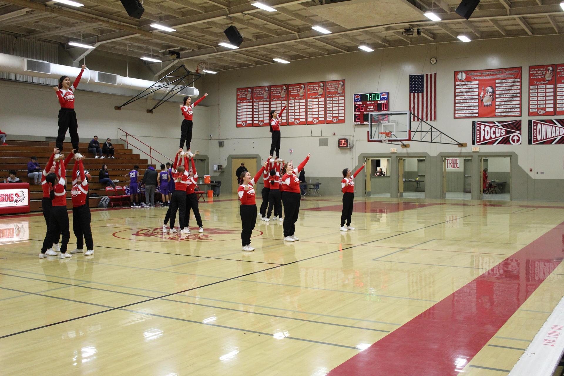 j v cheer cheering for j v boys basketball