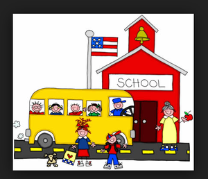 clip art of kids arriving to school