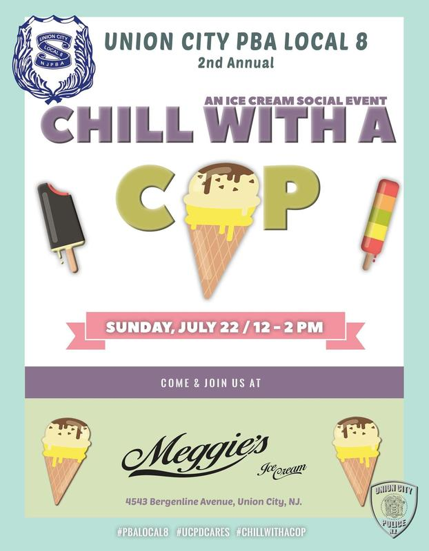 Chill with a cop flyer/invitation