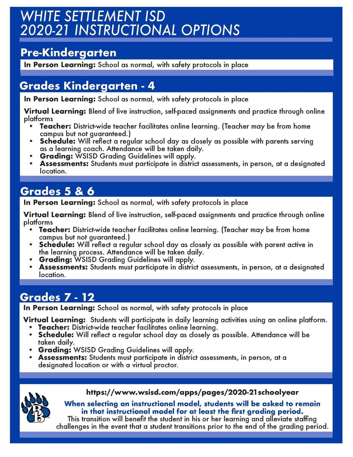 Instructional Options - English