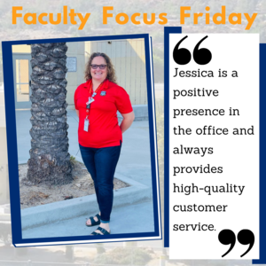 Jessica Daniels standing in front of the Hemet High campus with the Faculty Focus Friday border around her picture.