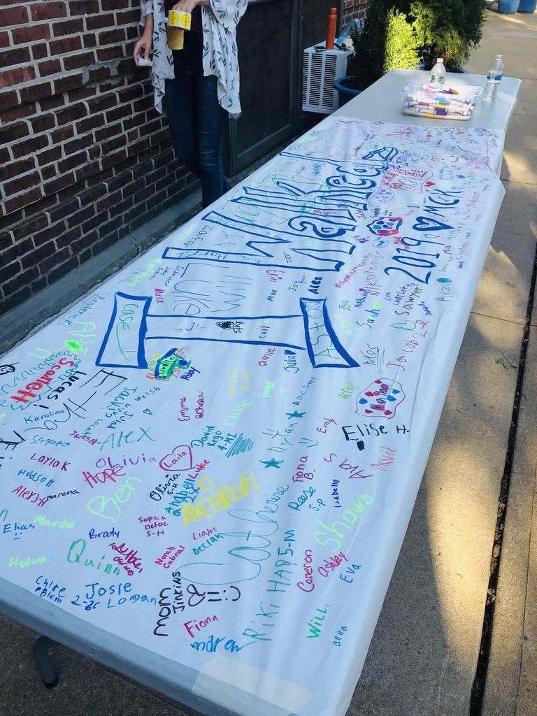 Photo of McKinley sign signed by students on Walk to School Day.