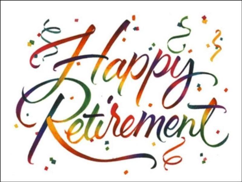 Words Happy Retirement written in cursive.