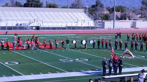 Hemet High School Band and Color Guard presented the National Anthem at the start of the Bowl.