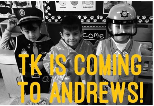 Picture of 3 young students in a classroom. They are wearing Police uniform costumes. A message covering half of the bottom of the picture says TK IS COMING TO ANDREWS!