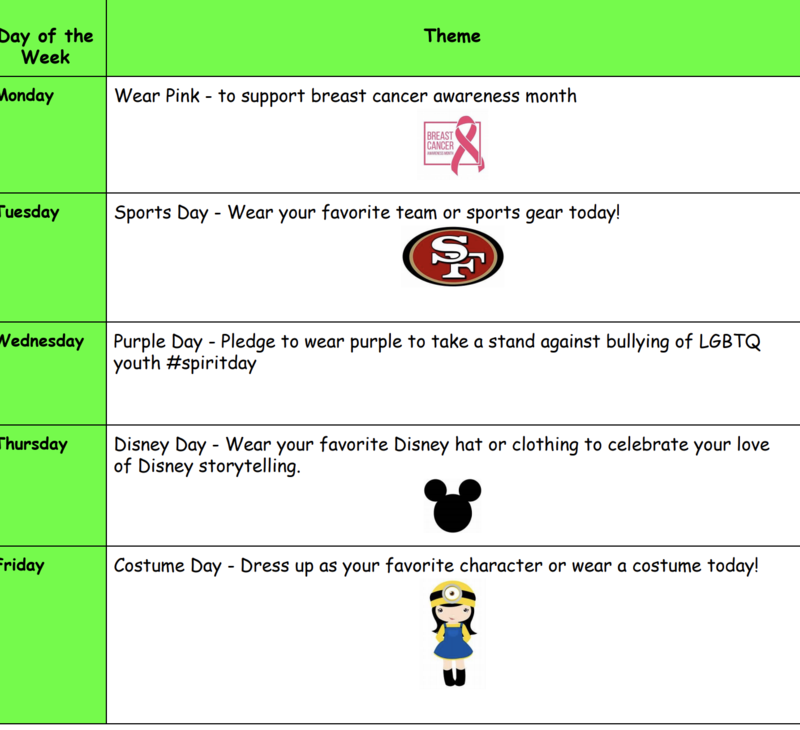 october 2020 spirit week flyer screenshot