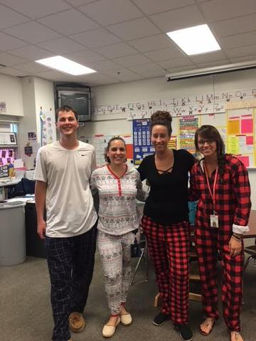 teacher and paras homecoming pajama day