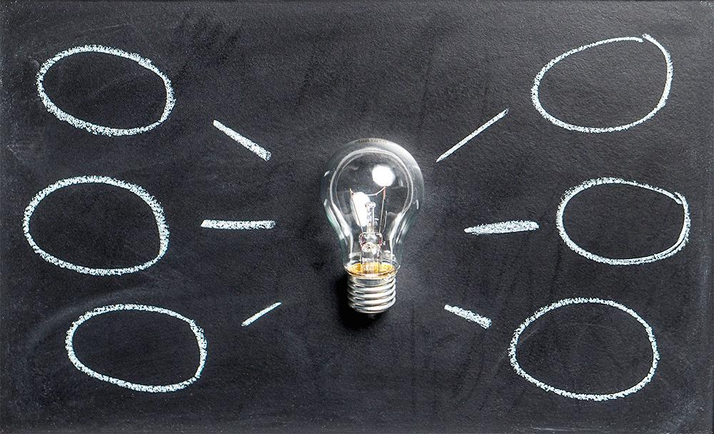 A lightbulb against a black chalkboard, with thought bubbles on both sides