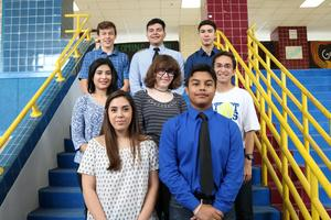 VMHS AP Scholars are  Logan A. Dovalina (senior), Michael A. Ayala (senior), Damian Gonzalez (junior), Citlali Haro Franco (senior), Michael A. Iglesias (senior), Andrea T. Martinez (senior), and Valeria G. Treviño Jimenez junior) and Stephan R. Jabs (senior). AP scholars from Class of 2018 not pictured are Amelia Medina Blanco, Victoria Cantu, Jose D. Chavez, Matthew F. Garcia-Perez, Natalia Juarez, Luz M. Martinez, Daniella Peña, Alyssa J. Ramirez, and Nyla D. Vela.