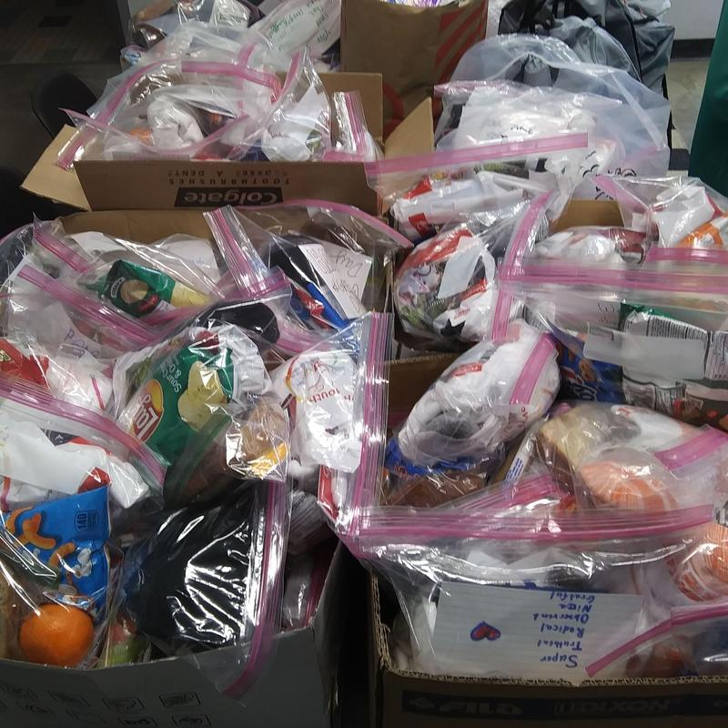 Donations ready to be distributed