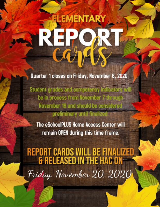 Elementary Report Cards finalized Nov. 20th Featured Photo