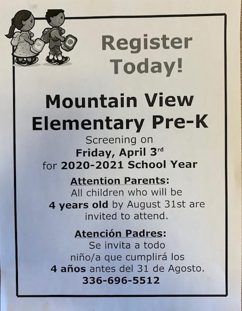 Mountain View Pre-K Screening  (FOR MORE INFO CLICK HERE) Thumbnail Image