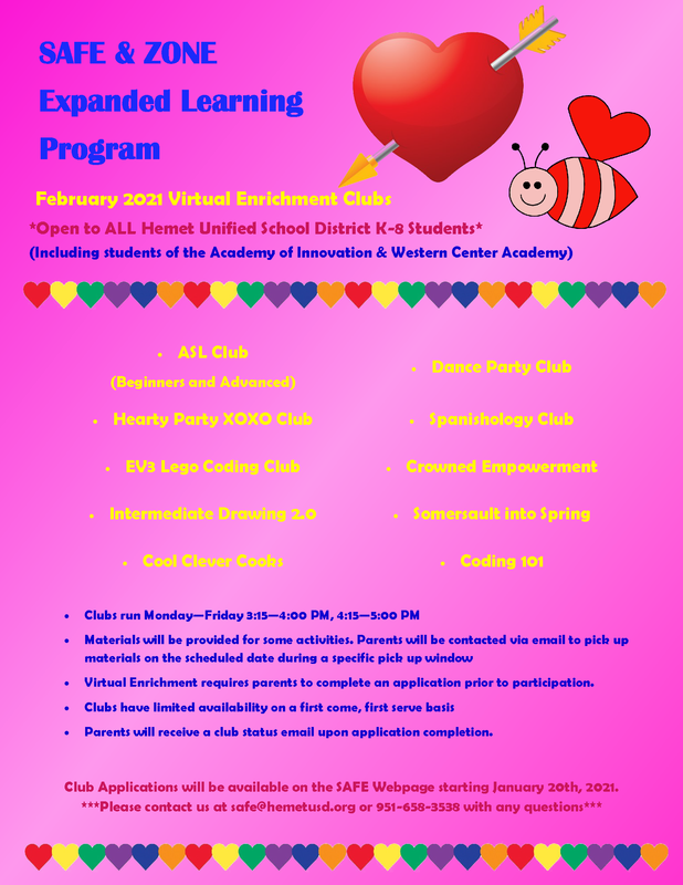 SAFE and ZONE Expanded Learning Enrichment Club flyer