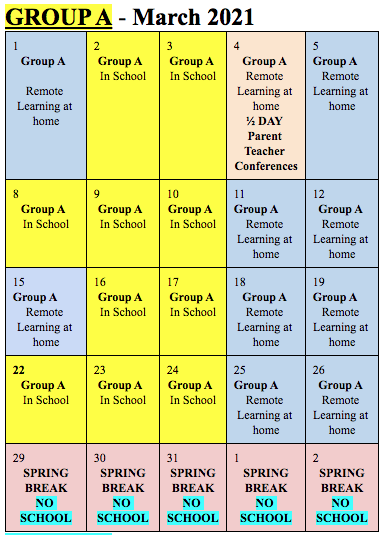 Group A March 2021 Calendar