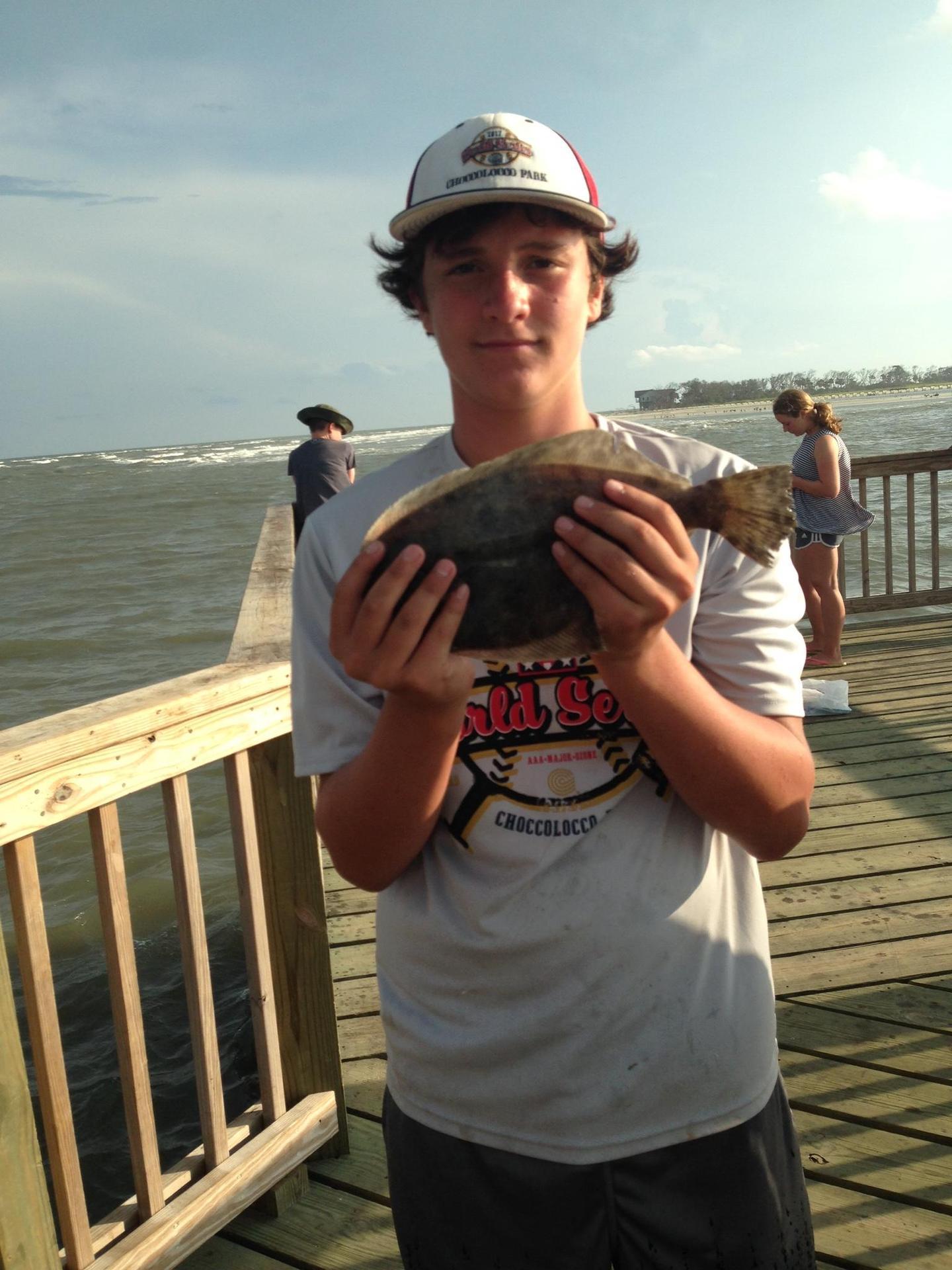 Mason fishing at the Fripp