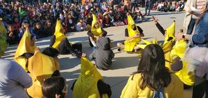 dressed up as bananas, students in costumes