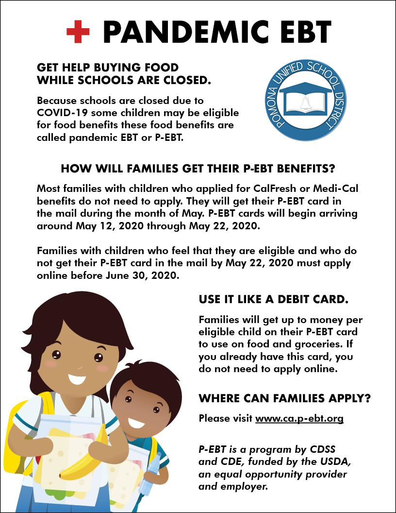 Because schools are closed due to COVID-19 some children may be eligible for food benefits these food benefits are called pandemic EBT or P-EBT.