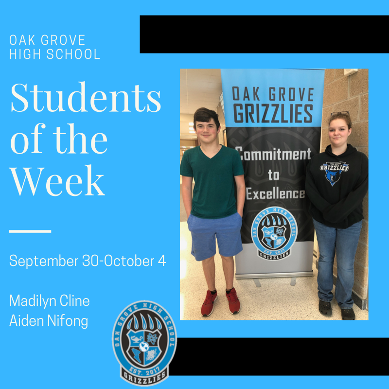 Students of the Week September 30-October 4, 2019: Madilyn Cline and Aiden Nifong