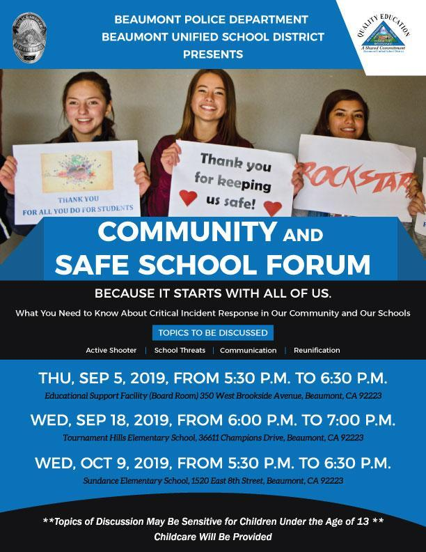 Flyer with Dates, Times, and Locations for Safety Community Forum
