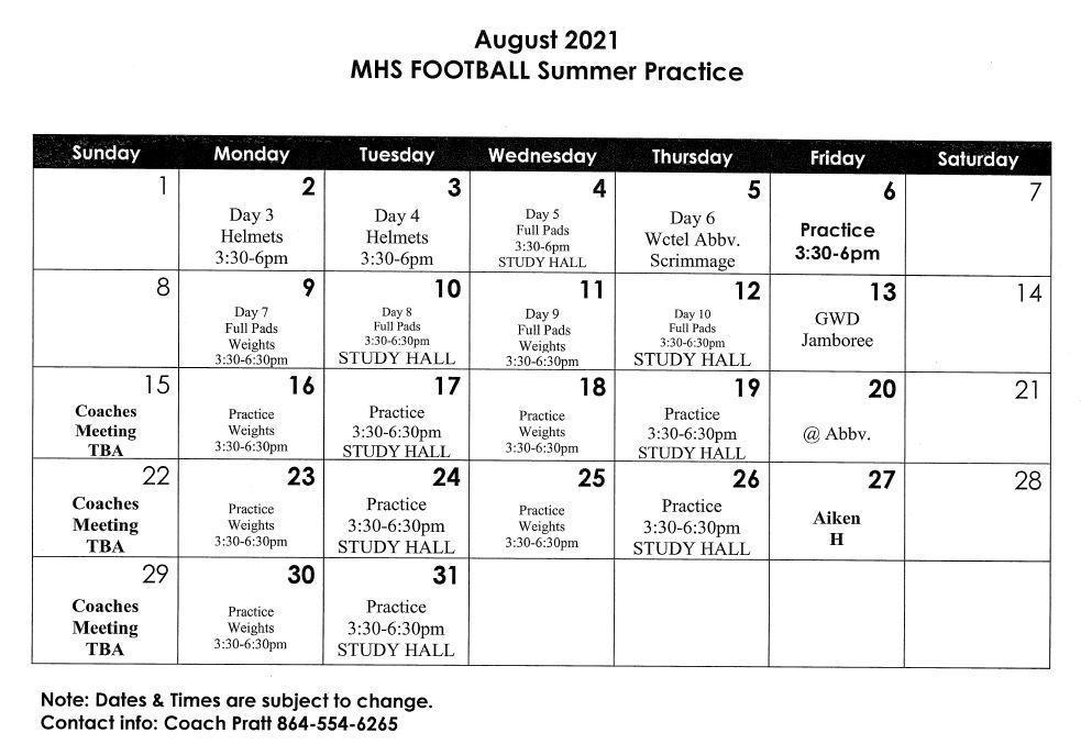 August Football Practice