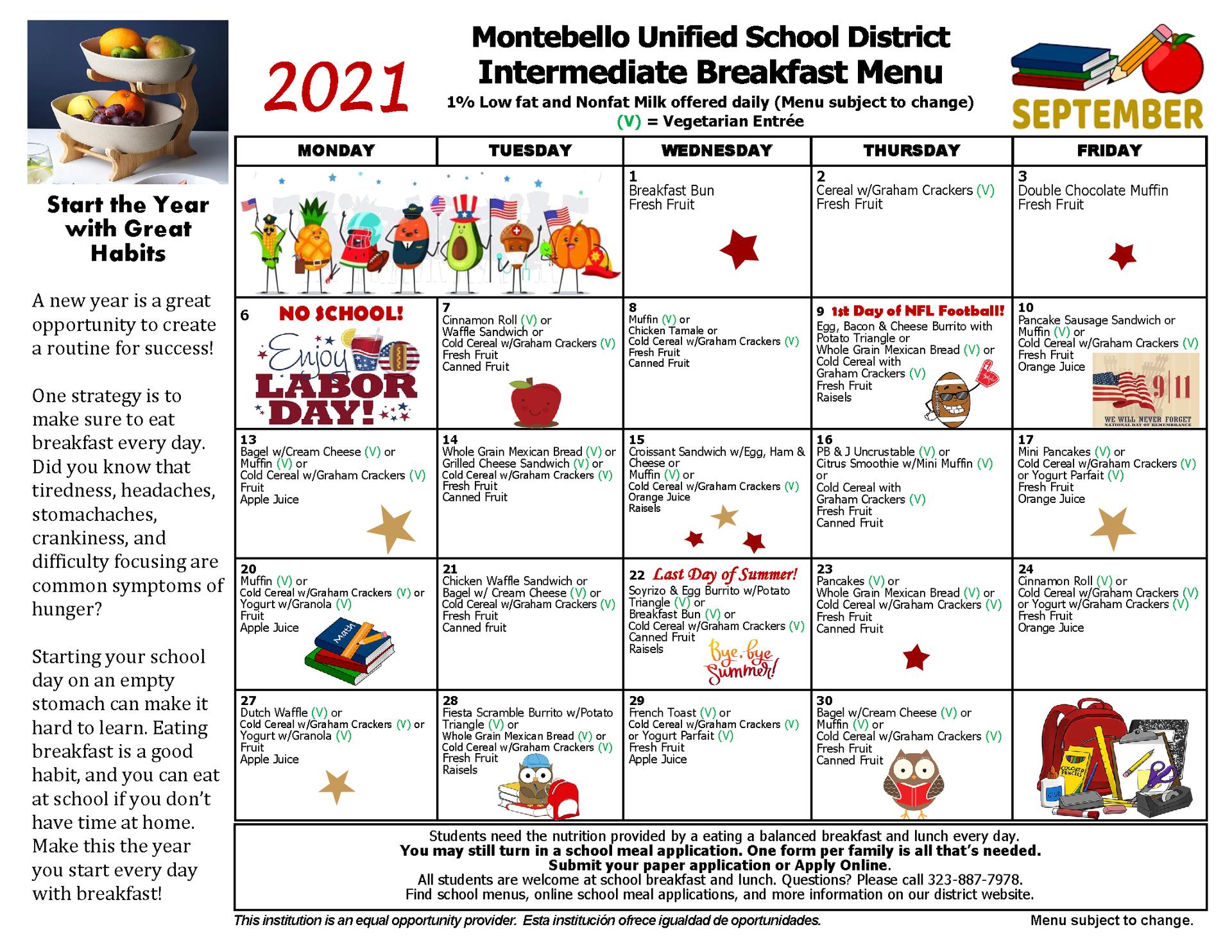Intermediate Breakfast Menu September 2021