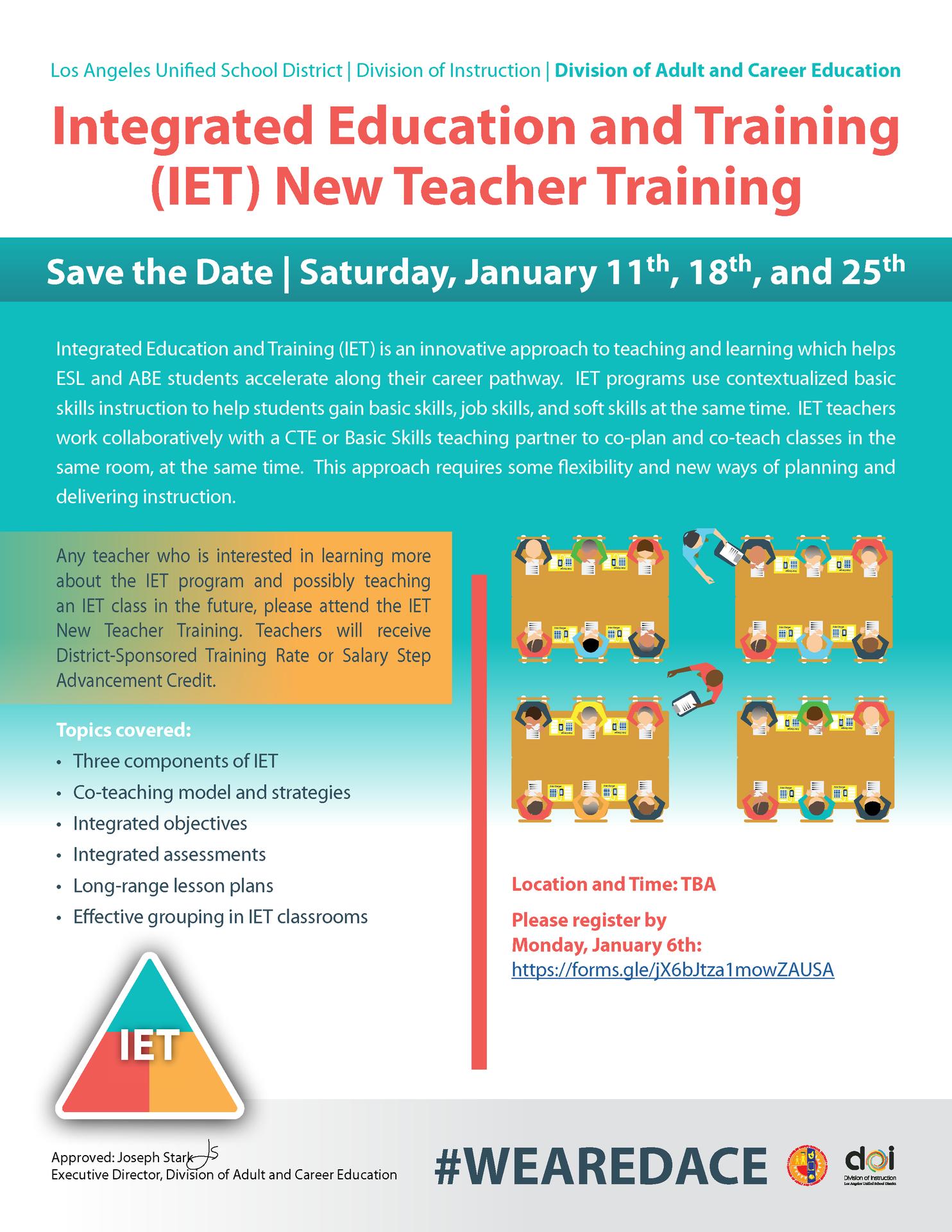 Teacher IET Training Opportunity