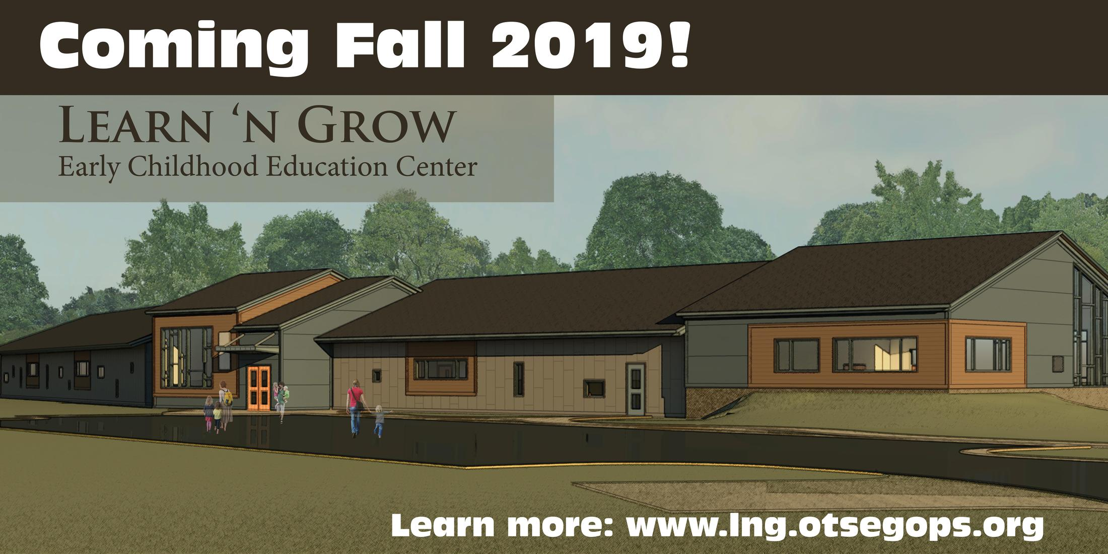 Picture of the new center (drawing) and words 'Opening Fall 2019'