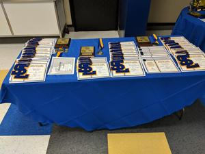 Awards table with all certificates and awards displayed