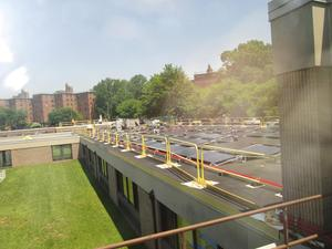 Broad view of the Frampton roof as seen from the solarium.