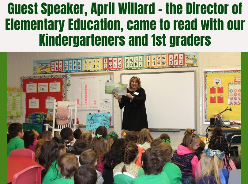 Image of April Willard reading to students in 1st grade