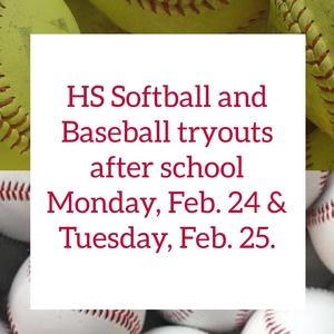 HS Softball and Baseball Tryouts