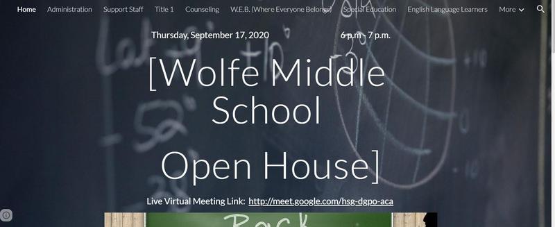 Chalkboard Wolfe Middle School Open House Message