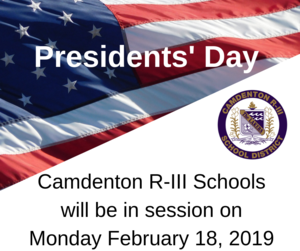 Camdenton R-III Schools will be in session on Monday February 18, 2019.png