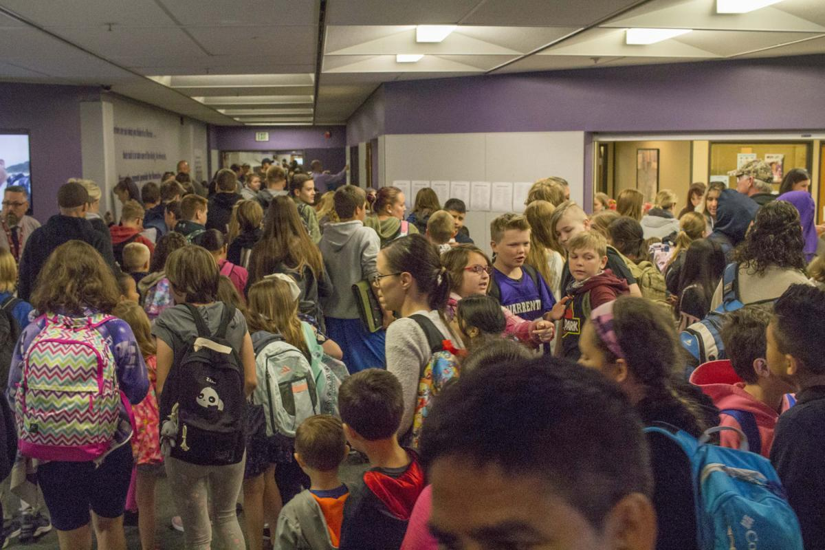 Crowded hallway in the Warrenton Grade School.