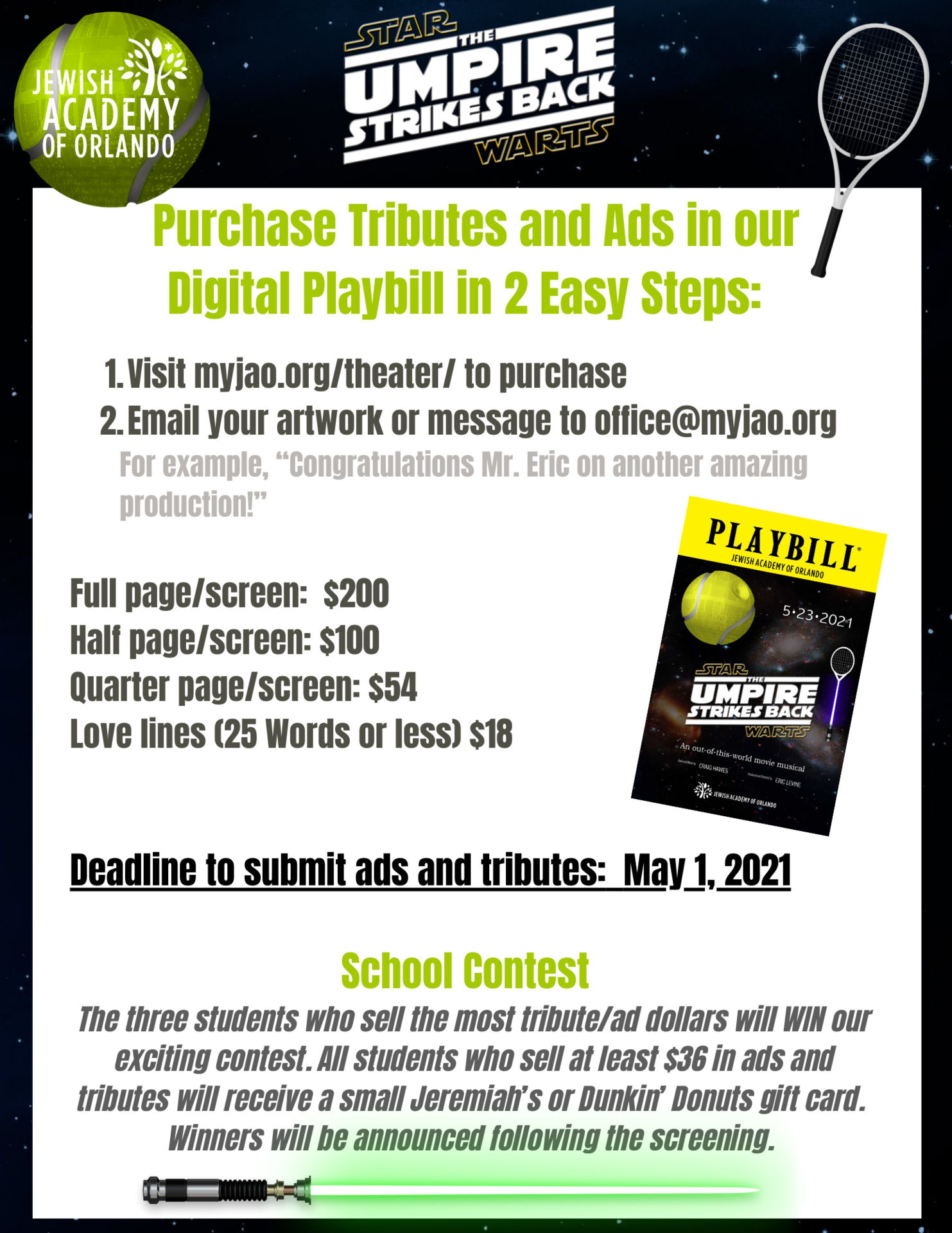 Tribute and ads flyer