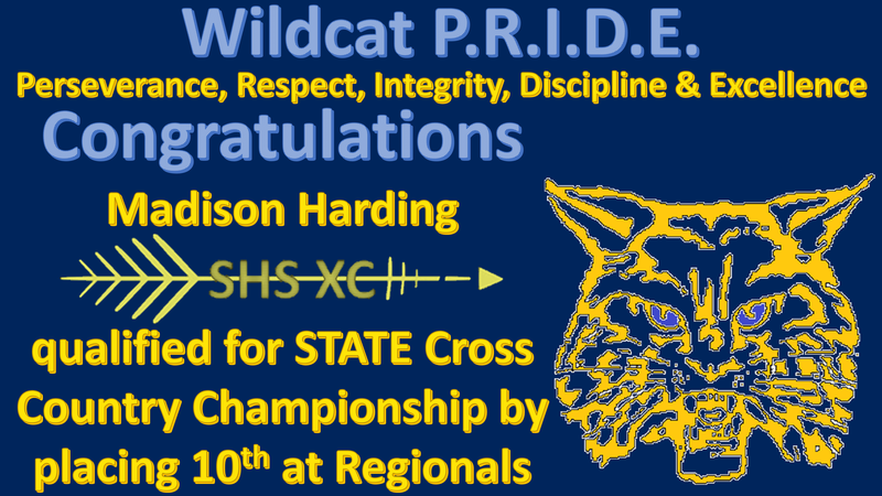 Congratulations Madison Harding qualified for STATE Cross Country Championship by placing 10th at Regionals