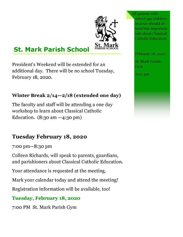 Classical Catholic Parent Meeting Tuesday, February 18, 2020