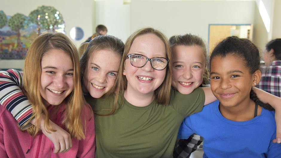 Middle school group of students