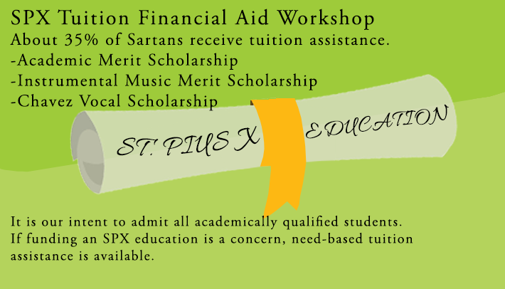 SPX Tuition Financial Aid Workshop Flyer
