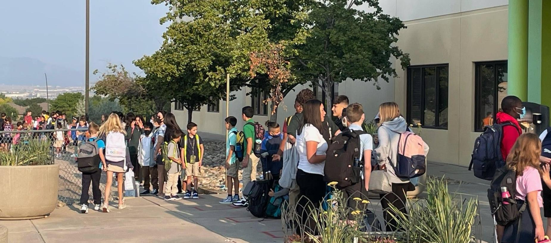 Students Lining Up Ready for their First Day of School 2021-2022!