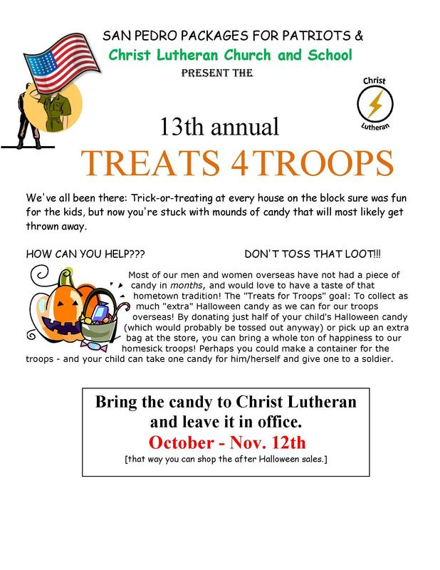 Treats for Troops Candy Collection October- November 12 Featured Photo