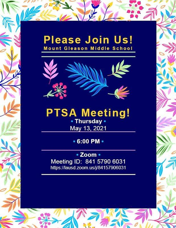 PTSA Meeting 5/13/21 at 6:00 PM